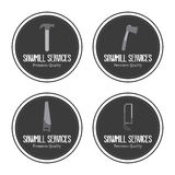 Sawmill labels objects Royalty Free Stock Image