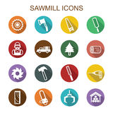 Sawmill long shadow icons Stock Photo