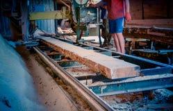 sawmill O processo de fazer à máquina entra serras da máquina da serração o t imagens de stock