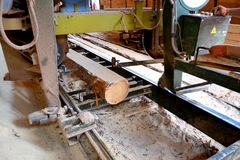 Free Sawmill. Process Of Machining Logs In Sawmill Machine Saws The Tree Trunk Stock Images - 98671594