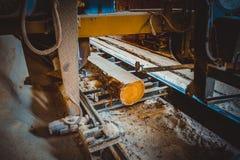 sawmill Processen av att bearbeta med maskin loggar in sågverkmaskinsågar ten royaltyfri bild