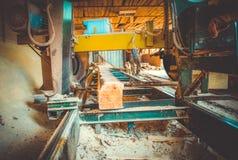 sawmill Processen av att bearbeta med maskin loggar in sågverkmaskinsågar ten arkivfoto