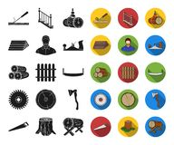 Sawmill and Timber black,flat icons in set collection for design. Hardware and Tools vector symbol stock web. Sawmill and Timber black,flat icons in set vector illustration