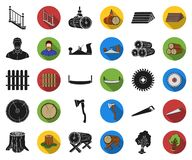 Sawmill and Timber black,flat icons in set collection for design. Hardware and Tools vector symbol stock web. Sawmill and Timber black,flat icons in set royalty free illustration