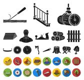 Sawmill and Timber black,flat icons in set collection for design. Hardware and Tools vector symbol stock web. Sawmill and Timber black,flat icons in set stock illustration