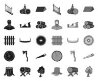 Sawmill and Timber black.mono icons in set collection for design. Hardware and Tools vector symbol stock web. Sawmill and Timber black.mono icons in set royalty free illustration