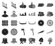 Sawmill and Timber black,monochrome icons in set collection for design. Hardware and Tools vector symbol stock web. Sawmill and Timber black,monochrome icons in stock illustration