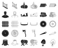 Sawmill and Timber black,outline icons in set collection for design. Hardware and Tools vector symbol stock web. Sawmill and Timber black,outline icons in set royalty free illustration