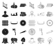 Sawmill and Timber black,outline icons in set collection for design. Hardware and Tools vector symbol stock web. Sawmill and Timber black,outline icons in set stock illustration