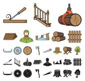 Sawmill and Timber cartoon, black icons in set collection for design. Hardware and Tools vector symbol stock web. Sawmill and Timber cartoon, black icons in set vector illustration