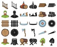 Sawmill and Timber cartoon,black icons in set collection for design. Hardware and Tools vector symbol stock web. Sawmill and Timber cartoon,black icons in set stock illustration