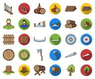 Sawmill and Timber cartoon,flat icons in set collection for design. Hardware and Tools vector symbol stock web. Sawmill and Timber cartoon,flat icons in set stock illustration