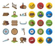 Sawmill and Timber cartoon,flat icons in set collection for design. Hardware and Tools vector symbol stock web. Sawmill and Timber cartoon,flat icons in set vector illustration