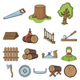 Sawmill and Timber cartoon icons in set collection for design. Hardware and Tools vector symbol stock web illustration. Sawmill and Timber cartoon icons in set Stock Image