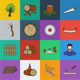 Sawmill and Timber cartoon icons in set collection for design. Hardware and Tools vector symbol stock web illustration. Sawmill and Timber cartoon icons in set stock illustration