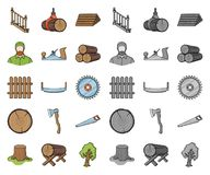 Sawmill and Timber cartoon,mono icons in set collection for design. Hardware and Tools vector symbol stock web. Sawmill and Timber cartoon,mono icons in set vector illustration