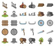 Sawmill and Timber cartoon,monochrom icons in set collection for design. Hardware and Tools vector symbol stock web. Sawmill and Timber cartoon,monochrom icons royalty free illustration