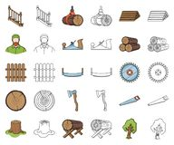 Sawmill and Timber cartoon,outline icons in set collection for design. Hardware and Tools vector symbol stock web. Sawmill and Timber cartoon,outline icons in vector illustration