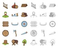 Sawmill and Timber cartoon,outline icons in set collection for design. Hardware and Tools vector symbol stock web. Sawmill and Timber cartoon,outline icons in stock illustration