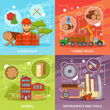 Sawmill Timber Compositions Set. Four sawmill timber flat compositions set with lumberjack character sawmill building trucks tools and decorative symbols vector Stock Images