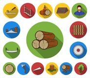 Sawmill and Timber flat icons in set collection for design. Hardware and Tools vector symbol stock web illustration. Sawmill and Timber flat icons in set stock illustration