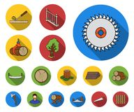 Sawmill and Timber flat icons in set collection for design. Hardware and Tools vector symbol stock web illustration. Sawmill and Timber flat icons in set royalty free illustration