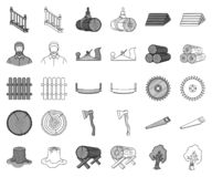 Sawmill and Timber monochrome,outline icons in set collection for design. Hardware and Tools vector symbol stock web. Sawmill and Timber monochrome,outline icons stock illustration