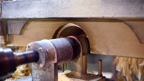 Sawmill. View on saw cuts log and shaving fly away stock video