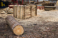 Sawmill, wood processing, timber drying Stock Photo