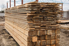 Sawmill, wood processing, timber drying Royalty Free Stock Photos