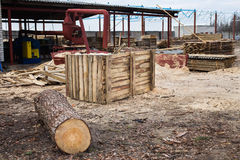 Sawmill, wood processing, timber drying, timber harvesting Royalty Free Stock Photo