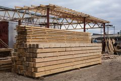 Sawmill, wood processing, timber drying, timber harvesting. Drying boards, baulk Stock Image
