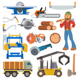 Sawmill woodcutter character logging equipment lumber machine industrial wood timber forest vector illustration. Royalty Free Stock Images