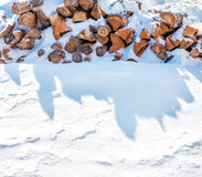 Sawn firewood lying on the snow in winter Stock Images