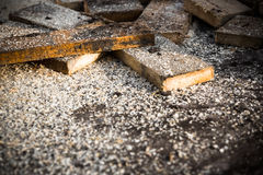 Sawn off pieces of wood Royalty Free Stock Photos