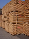 Sawn timber. Stored in a port Royalty Free Stock Photography
