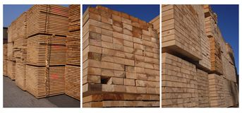 Sawn timber. Stacked in a port Royalty Free Stock Photography