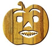 Sawn wood figure of a pumpkin on a white background