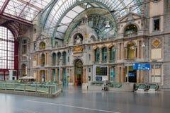 Sławny art deco Antwerp wewnętrzna główna stacja, Belgia Zdjęcia Stock