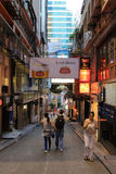 Sławny miejsca Lan Kwai Fong po pracy Fotografia Stock