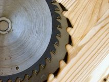Saws. On wood Stock Photo