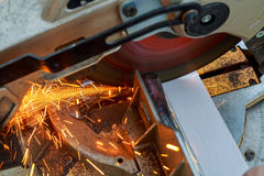 Saws for cutting aluminum alloy, closeup of photo Royalty Free Stock Image
