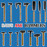 Saws, hammers, axes many types Stock Image