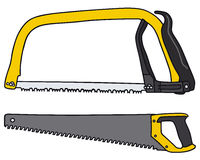 Saws. Hand drawing of two handsaws Royalty Free Stock Image