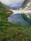 Sawtooth湖和接近的风暴,锯齿范围,锯齿原野,爱达荷 库存图片
