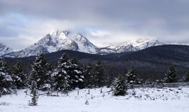 Sawtooth Mountain Range Deep Winter Landscape Idaho National Rec Stock Photos