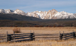 Sawtooth Mountains Dry Grassland Countryside Royalty Free Stock Image
