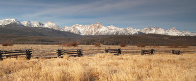 Sawtooth Mountains Fenced Range Land Royalty Free Stock Photography