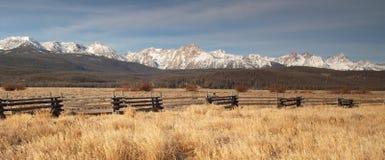 Sawtooth Mountains Fenced Range Land Royalty Free Stock Photography