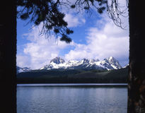 Sawtooth Mountains & Little Redfish Lake Stock Photos